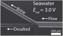 """O eletrodo na junção cria uma """"zona de sangria de íons"""", levando a salmoura (brine) para um lado e a água dessalinizada para o outro."""