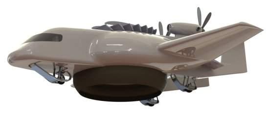 O projeto combina as melhores características de um avião, um hidroavião, um helicóptero, um aerodeslizador e um dirigível.