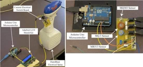 À esquerda, o transmissor, incluindo o sistema de pulverização (spray). À direita, o sistema de detecção (sensor) e decodificação das mensagens transmitidas por álcool pelo ar.