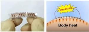 A cerâmica normalmente utilizada nos geradores termoelétricos foi substituída por um tecido de fibra de vidro, dando flexibilidade ao gerador.