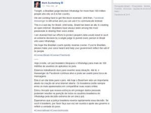 Mensagem de Zuckerberg